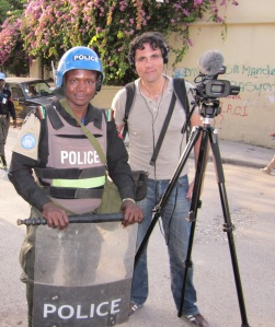 Ross Velton filming Haiti election