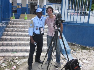 Ross Velton with a UN policeman