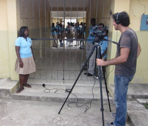 Ross Velton filming at a school in the Dominican Republic